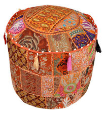 """22"""" Vintage Patchwork Embroidered Round Floor Decorative Pillow Cushion Cover"""