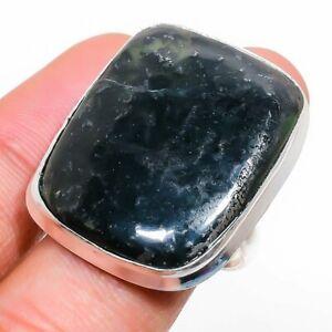 Green Apatite Gemstone Handmade 925 Sterling Silver Jewelry Ring Size 8 b160