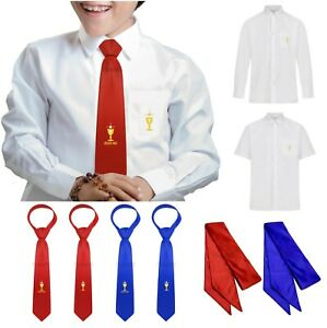 2021 OFFICIAL PARKERS BOYS FIRST HOLY COMMUNION TIE SHIRT SASH RED BLUE DATED