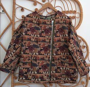Vintage Tapestry Autumnal Halloween Oversized Cardigan Jacket Size Medium 14