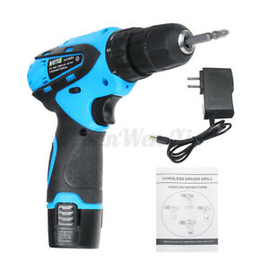 12V Electric Cordless Drill Screwdriver 2-Speed 10mm Repair Tools