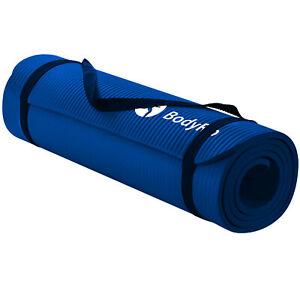 BodyRip Yoga Mat For Pilates Gym Exercise Blue 15mm NBR Foam Carry Strap Fitness