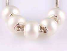 DIY 20pcs silver pearl big hole spacer beads fit Charm European Bracelet