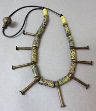 "Ethnic Design Necklace/Vintage Millefiori Glass Trade Beads, Bronze ""Nails"""