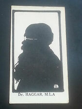 RARE 1914 UNITED TOBACCO SOUTH AFRICA cigarette card SILHOUETTES OF MLA - HAGGAR