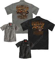 Velocitee Mens Mechanic Work Shirt The Outlaw Hot Rat Rod Rockabilly W15095