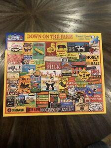 """White Mountain Puzzle """"Down on the Farm"""" Vintage Farming Signs 1000 Pieces HTF!"""
