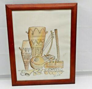 "Original Aquarell ""Stillleben Instrumente aus Kamerun"" signiert Eugene Kidinda"