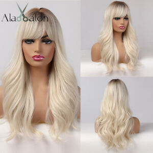 Long Women Wigs with Bangs Ombre Brown Platinum Blonde Hair Wig Daily Party Cos