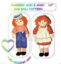 """RAGGEDY ANN & RAGGEDY ANDY Rag - Cloth  DOLL PATTERN 10"""" tall"""