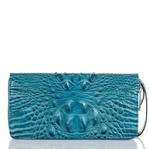 Brahmin Skyler Clutch Large Zip Wallet Lagoon Blue Melbourne Croc Leather $175