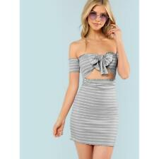 Knot Striped Ribbed mini Dress Small S off the Shoulder cutout forever 21 H&M