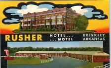 Brinkley, Ar Arkansas Rusher Hotel & Motel c1950s Linen Roadside Postcard