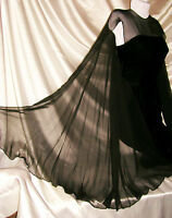 "VinTage Couture Black Velvet Sheath Watteau Dress 60"" Chiffon Scarf 2 S Wiggle"