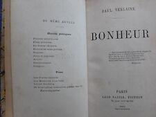 PAUL VERLAINE. BONHEUR. LEON VANIER. 1891. Edition originale