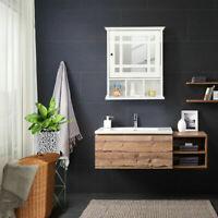 Bathroom Wall Mounted Cabinet Wood Cupboard Shelves Storage Bath w/ Mirror Door