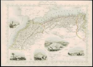 1851 - Original Antique Map NORTHERN AFRICA by Tallis Algiers Morocco (DW5)