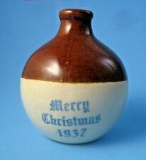 Uhl Pottery 1937 Merry Christmas Miniature Stoneware Jug