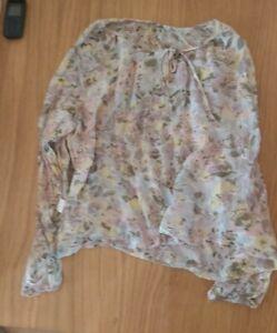Ladies 'ADINI' Pastel Floral sheer long sleeve Top. Size 16. vgc.