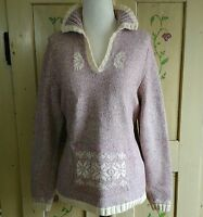 Woolrich Womens Pullover Sweater Size M Dusty Pink Ivory Marled Knit Fair Isle