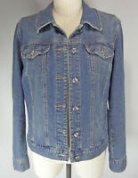 Style & Co Trucker Jacket M Rhinestone Buttons Blue Jean Medium Wash Denim