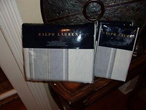 NIP Ralph Lauren Oakview White Blue Striped Full Queen Duvet Cover Set 3pc