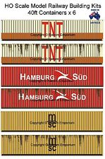 HO Scale Containers Mixed 6 x 40ft - Model Railway Building Kit HO40FM3