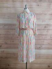 L8-41 BGB Semi Sheer Pastel Rainbow Stripe Vtg 80s Long Sleeve Casual Dress Sz 8