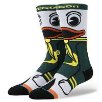 University Of Oregon Ducks Fighting Puddles Mascot Stance Socks Large Men's 9-12