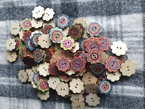 20 mixed boho flower wooden sewing craft knitting buttons 19mm 2 hole