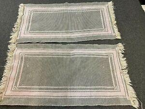 "1930's RUNNERS/Cotton Rugs-Pair(2)- 28""x49""- Gray,Pink,Cream-ART DECO LOOK-SALE"