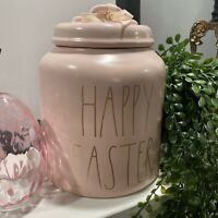 "New RAE DUNN by Magenta Large Pink LL ""HAPPY EASTER"" CANISTER JAR 2021 🐣"