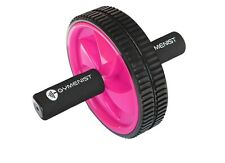 Pink Abdominal Exercise Ab Wheel Roller With Foam Handles Double Wheel