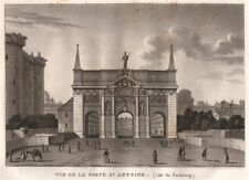 PARIS. Porte Saint-Antoine (Côtè du Faubourg) . Aquatint 1808 old print