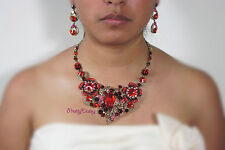 Necklace Jewelry Set Earring Us Seller New Red Wedding Pageant Rhinestone Formal