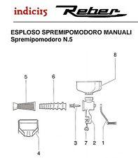 indici15 Manovella Manopola Plastica Spremipomodoro n°5 Manuale  Ricambi Reber
