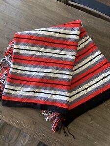 """Handmade Crochet Afghan Black Red Gray White Stripes Throw Blanket 76""""x49"""""""