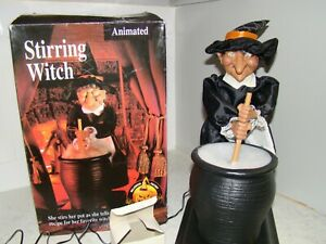 """GEMMY Halloween Factory STIRRING WITCH  16"""" Animated Figure TESTED WORKS w/ Box"""