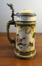 Antique Villeroy & Boch Mettlach Stein Gnomes Drinking #2184.  1C