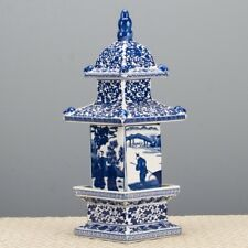 "Blue & White Large Porcelain Pagoda Figurine/Box/Jar, 16""H"