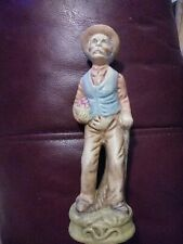 Old Man With Cane Carrying A Basket Of Apples Ceramic Figurine SIGNED E.Rickman