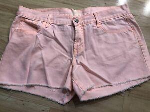 Women's Old Navy Diva Neon Peach Orange/Pink Denim Jean Cut Off Shorts Size 12