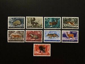 YUGOSLAVIA 1960 WILD ANIMALS , Sc 572-580 , MNH