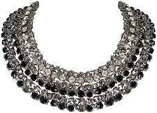 Collier Halskette Statement Glitzer necklace Kristall Handarbeit Schwarz Weiß