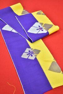 "Vintage Japanese Kimono Fabric Silk Antique Boro Kusakizome Woven 50.8""/BT51/35"