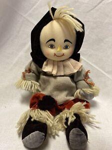 """2001 Wizard of Oz 11"""" Scarecrow Plush Doll Beanie Enesco Halloween Rare"""