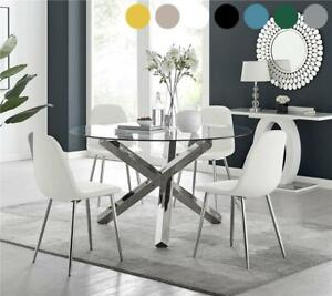 Vogue Large Round Glass and Chrome Modern Dining Table & 4 Chairs