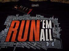 Under Armour RUN 'EM ALL Baltimore S/S Running Shirt BLACK Men's Large ~ NWT $30