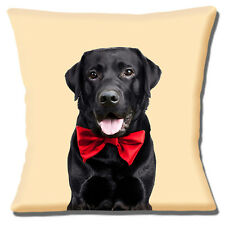 """YOUNG ADULT BLACK LABRADOR DOG RED BOW TIE ON CREAM  16"""" Pillow Cushion Cover"""