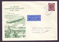 Bund 1954 - Ganzsache Posthorn 25 Pfg. 40 Jahre Luftpost mit Zeppelin (785)